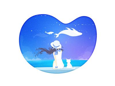 Girl and the sea cat girl sea gleam illustration