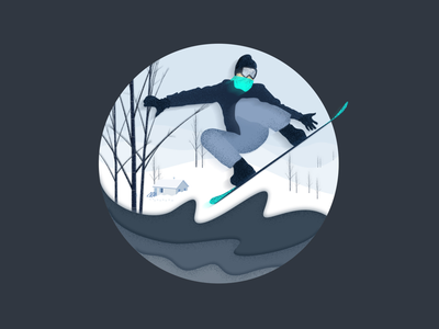 Desire for freedom freedom snow houses trees snowy mountains skateboarding skiing snowing illustration