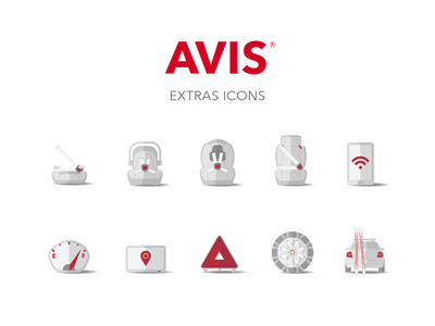 Avis Extras Icons website app e-commerce ecommerce user experience uxdesign ux icon set corporate iconography icons vector illustration design