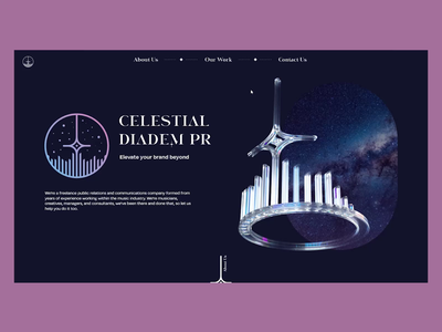 Celestial Diadem Branding - Web Experiment website design web design web ux ui typography design 3d cinema 4d cinema4d 3d render logo art direction branding