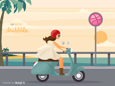 Hello Dribbble!! driving bike illustration message you thank dribbble hello shot first