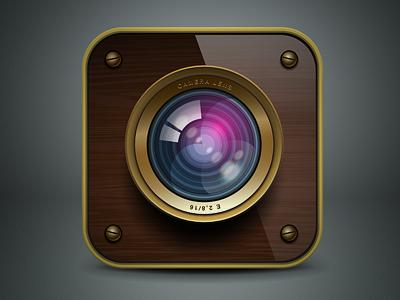ios camera icon. Vector illustration icon design icon ios iphone camera cam retro wood gold vector ai