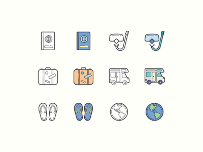 Hand Drawn icons: Traveling flip flops snorkeling passport luggage camper van travel website travel agency travel blog travel app traveling outline ui icon set icons8 graphic design design icons icon digital art vector