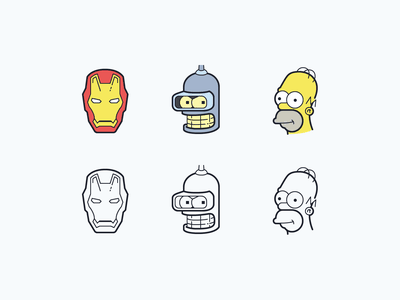 Hand Drawn icons: Characters free icons free character icons the simpsons homer simpson bender robot iron man characters color outline ui icon set icons8 graphic design design icons icon digital art vector
