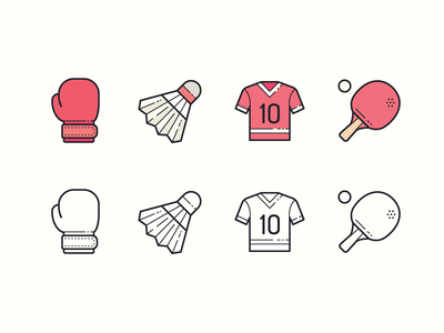 Hand Drawn icons: Sports Equipment fitness fitness app boxing glove boxing jersey pingpong sport equipment sportswear sports color outline ui icon set icons8 graphic design design icons icon digital art vector