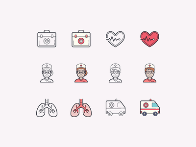 Hand Drawn icons: Healthcare heart doctors bag doctor help heartbeat nurse lungs emergency health app healthcare outline ui icon set icons8 graphic design design icons icon digital art vector