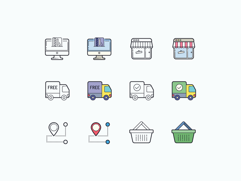 Hand Drawn icons: Online Shopping