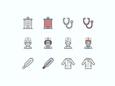 Hand Drawn icons: Healthcare help medicine app health app healthcare hospital stethoscope doctor lab coat medical thermometer color outline ui icon set icons8 graphic design design icons icon digital art vector