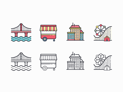 Hand Drawn icons: City travel agency city ​​tours food cart bridge building amusement park city sights travel app travelling color outline ui icon set icons8 graphic design digital art design icons icon vector