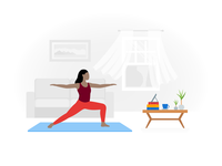 Fogg Illustration: Yoga at Home exercice training indoor training fitness app work from home home sports yoga pose yoga app yoga illustration ux flat color ui icons8 graphic design digital art design vector