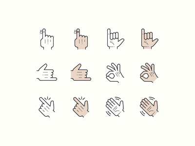 Hand Drawn icons: Hands hand drawn so-so hang10 hand easy reminder ok hand gestures gesture call me hands graphic design color outline icons icon digital art design vector