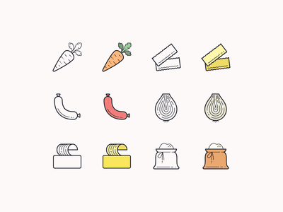Hand Drawn icons: Food butter flour lasagna onion sausage carrot order food fooddelivery food app restaurant ui outline icon set icons8 graphic design icons icon digital art design vector