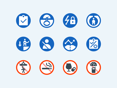 Color icons: Life-Saving Rules workplace work environment safety at work safety first life safety safety 12 life-saving rules do not smoke life-saving rules lifestyle color ui icon set icons8 graphic design icons icon digital art design vector