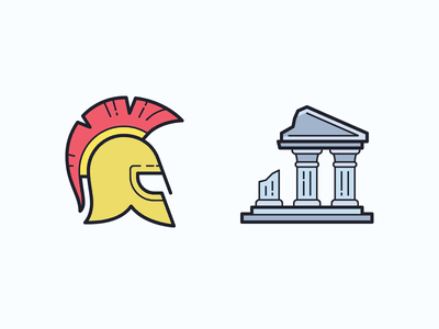 Color Hand Drawn icons: Ancient Greece Culture ux traveling ancient building ruins helmet ancient greece greece ui icon set icons8 graphic design icons icon digital art design vector culture color