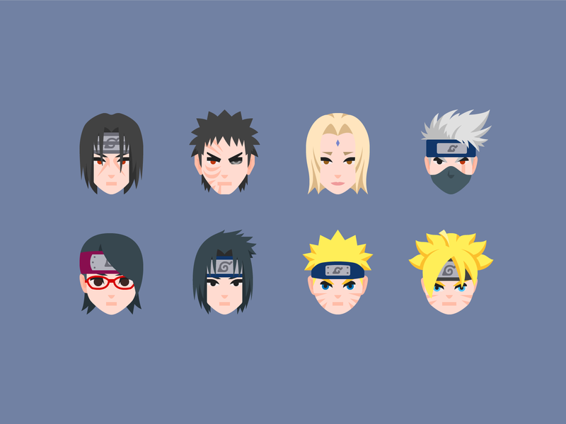 Color icons: Naruto Characters naruto free icons illustraion flat color icon set icons8 graphic design icons icon digital art design vector