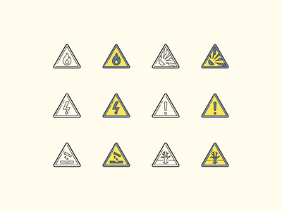 Hand Drawn icons: Hazard Symbols attention safety first warning environmental hazard general warning electricity flammable safety hazard symbol color outline ui icon set icons8 graphic design icons icon digital art design vector