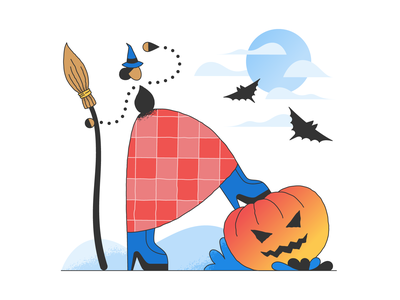 Halloween illustration halloween digital illustration spooky season ui illustration halloween costume halloween party broomstick moon bat pumpkin witch ux illustration flat ui icons8 graphic design digital art design vector