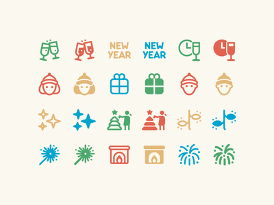 Fluent System icons: New Year Icons christmas lights new year eve christmas card christmas tree firework fireplace gift new year christmas outline ui icon set icons8 graphic design icons icon digital art design vector