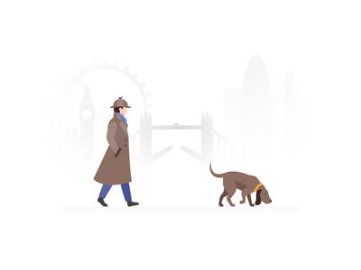 Interface Illustration: Searching sherlock ux ui dog detective interface illustration interface illustration icons8 graphic design searching