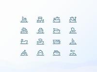 Water Transport 1em Icons