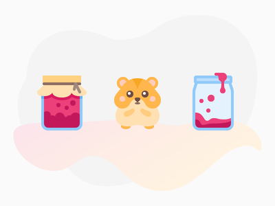 Flat Color Icons: Who ate jam? illustration beige fucsia hamster jam jar design vector color icons icon graphic design digital art