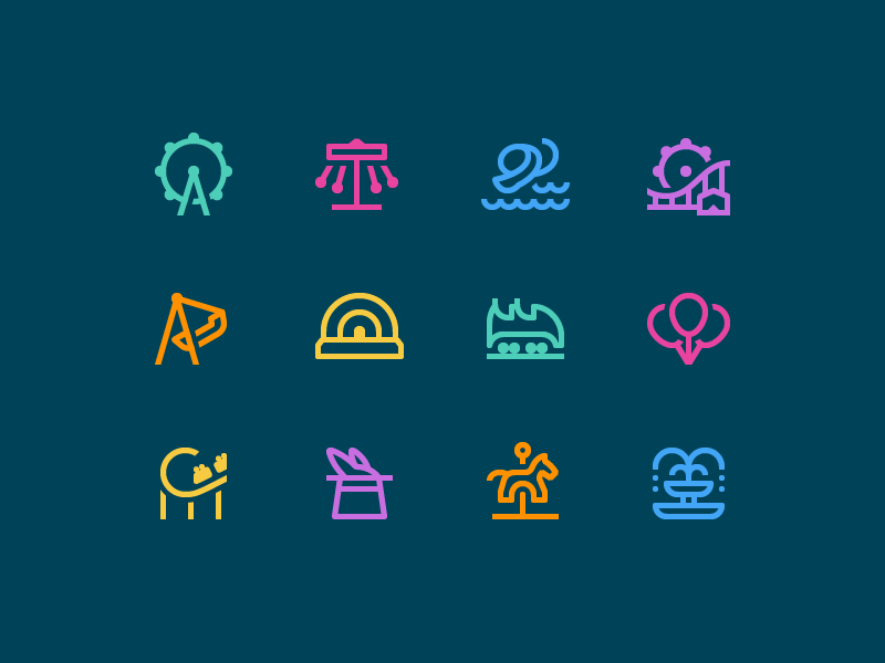 Simple Small icons: Amusement Park happiness ferris wheel carousel rollercoaster amusement park outline design vector 1em icons icon digital art