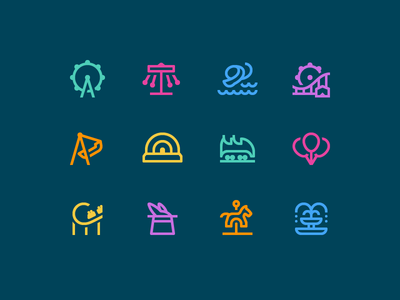 Simple Small icons: Amusement Park happiness ferris wheel carousel rollercoaster amusement park outline design vector 1em icons icon digital art