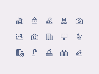 Simple Small icons: City ecology icon set monuments building city outline design vector 1em icons icon digital art