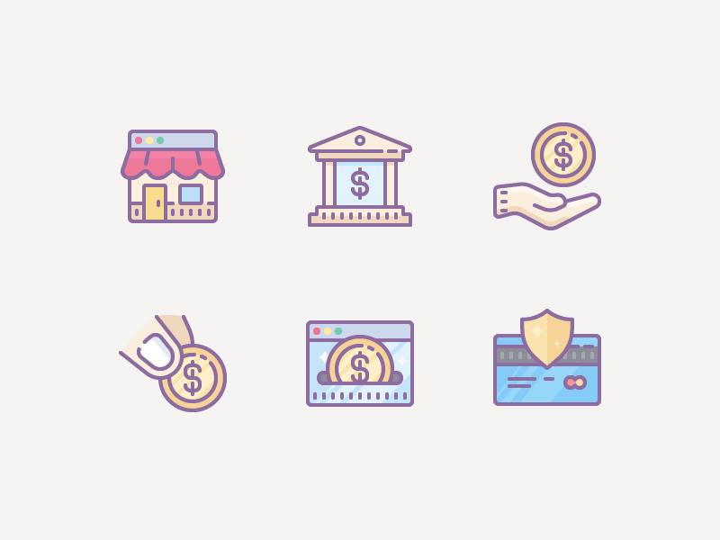Cute Color icons: Finance & E-commerce ui ecommerce flat money cash finance color design vector icons icon digital art