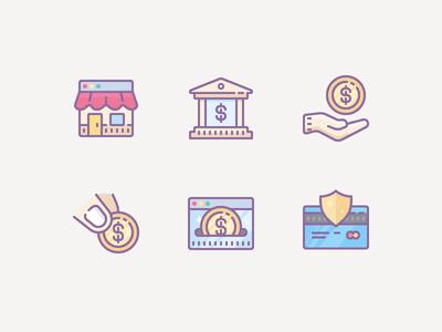 Dusk icons: Finance & E-commerce