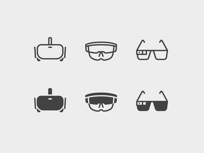iOS icons: VR and AR Headsets glasses stroke vr augmented reality virtual reality ios icon set design icons ui outline graphic design digital art vector icon