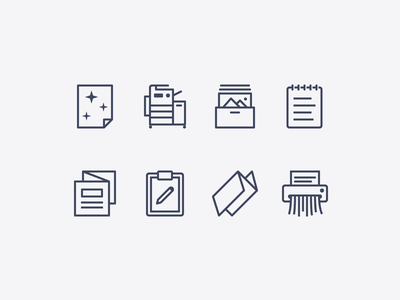 iOS icons: Office Equipment & Supplies printer shredder clipboard paper office ios icons8 ui icon set outline graphic design design icons vector icon