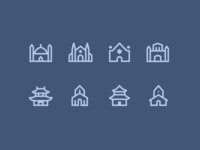 1em icons: Religion Buildings