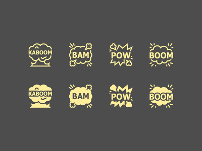 iOS icons: Comic Sound Effects comic art sound effects effects sound kaboom pow bam boom stroke ios icons8 ui icon set outline graphic design design digital art vector icons icon