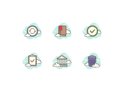 Clouds icons cloud clipboard check mark trash can museum check refresh bookmark illustration flat color icons8 ui icon set graphic design design digital art vector icons icon
