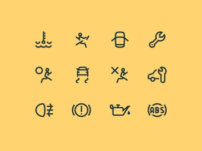 Simple Small icons: Car Dashboard Symbols