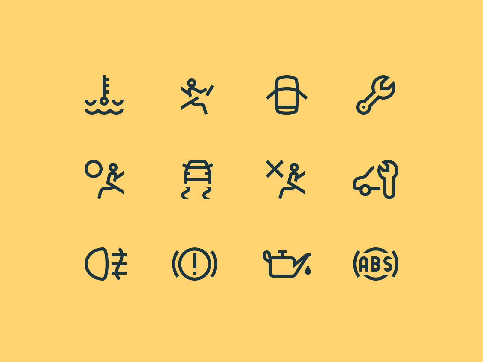 1em Icons Car Dashboard Symbols By Marina Fedoseenko Dribbble Diagram Oil Engine Coolant Air Bag Driver Headlights Door