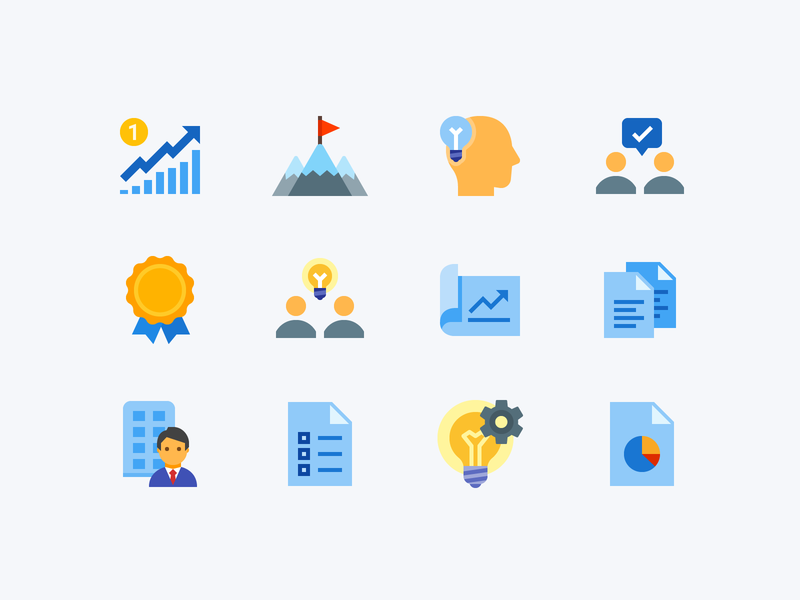 Flat Color icons: Project Management brief mission business brainstorming project project management ecommerce finance illustration flat color icons8 ui icon set graphic design design digital art vector icons icon