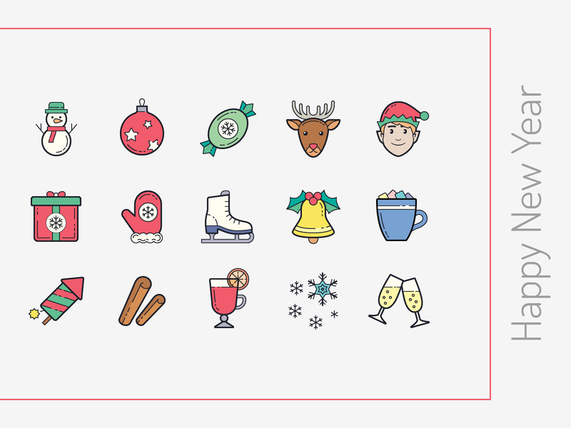 Color Hand Drawn icons: Happy New Year snowman cinnamon gift christmas elf reindeer new year eve new year illustration flat icons8 ui color icon set graphic design design digital art vector icons icon