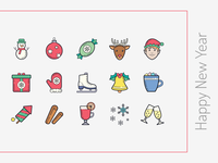 Color Hand Draw icons: Happy New Year