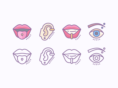 Cute Outline and Color Icons: Piercing