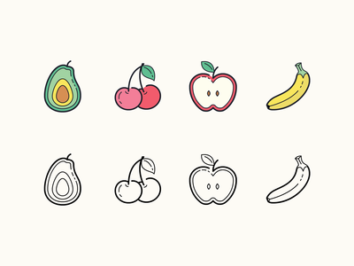 Hand Drawn icons: Fruits