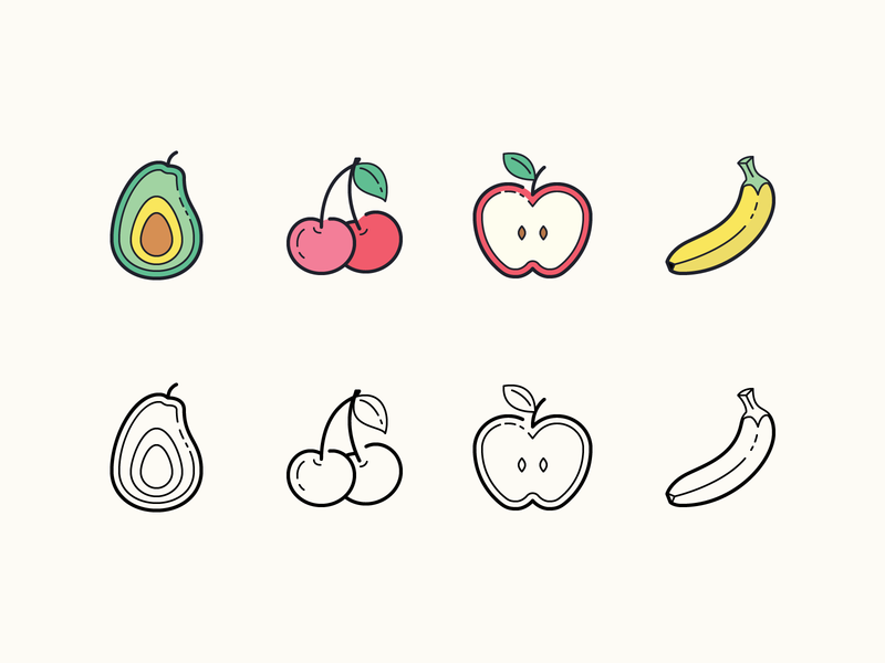 Hand Drawn icons: Fruits food cherry avocado banana apple fruits fruit stroke flat color icons8 ui outline icon set graphic design design digital art vector icons icon