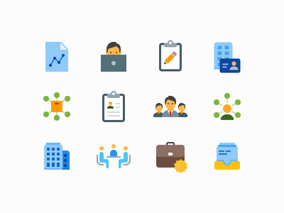 Flat Color icons: Business