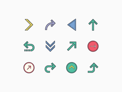 Color Hand Drawn icons: Arrows