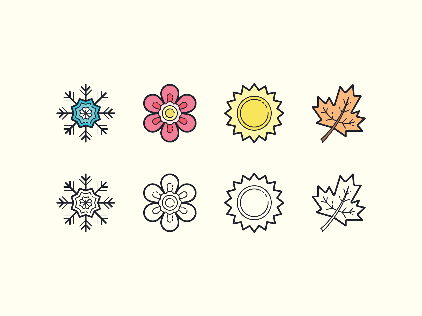 Icons8  hand draw seasons