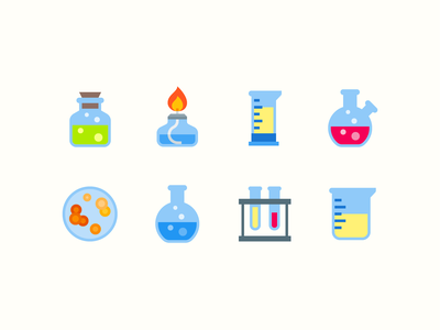Color icons: Laboratory Equipment biology science chemistry burner glass jar petri dish test tube flask illustration flat color icons8 ui icon set graphic design design digital art vector icons icon