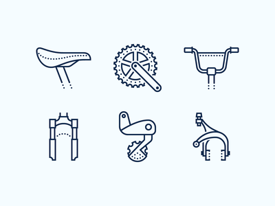Dotted icons: Bike Parts spare parts bike derailleur bike parts bycicle bike bcycle fork hadlebar saddle dotted icons stroke outline icons8 ui icon set graphic design design digital art vector icons icon
