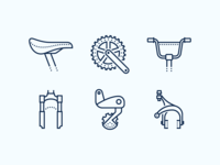 Dotted icons: Bike Parts