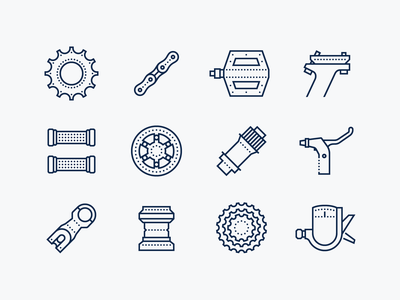 Dotted icons: Bike Spare Parts brake lever chain freewheel dotted icons bycicle bike spares spare parts bike parts bike stroke outline ui icons8 icon set graphic design design digital art vector icons icon
